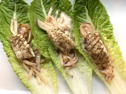 Cod Lettuce Wraps with Kohlrabi Slaw by The Allergy Chef