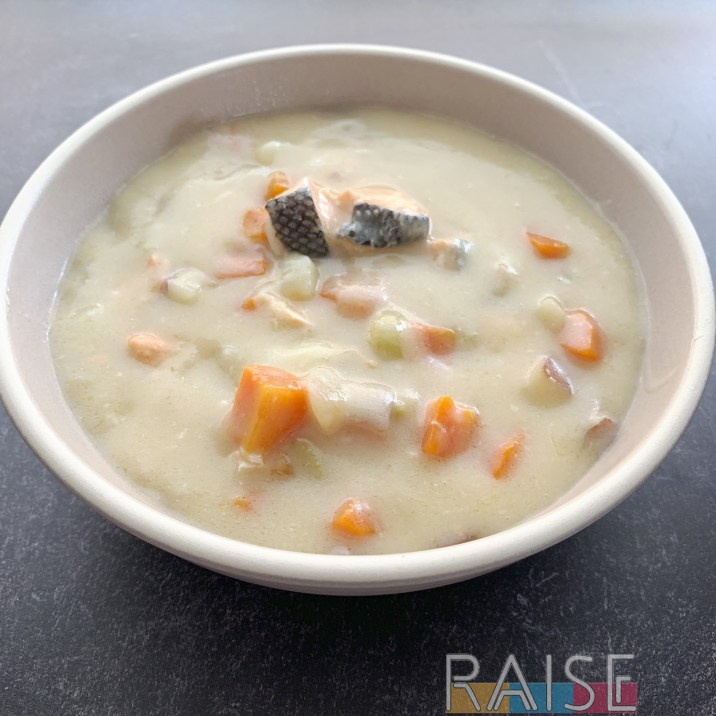 Gluten Free Dairy Free Salmon Chowder by The Allergy Chef