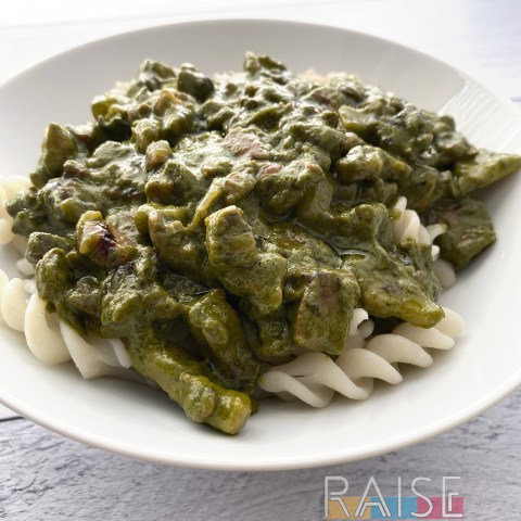 Nut Free Bacon & Pesto Pasta by The Allergy Chef