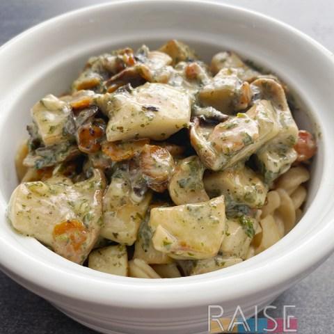 Gluten Free, Vegan Pesto Pasta by The Allergy Chef