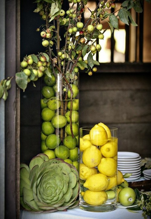 citrus vases centerpiece