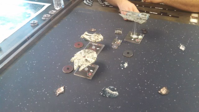 Vader and Kenkirk flank the YTrain and latch on to Leebo.
