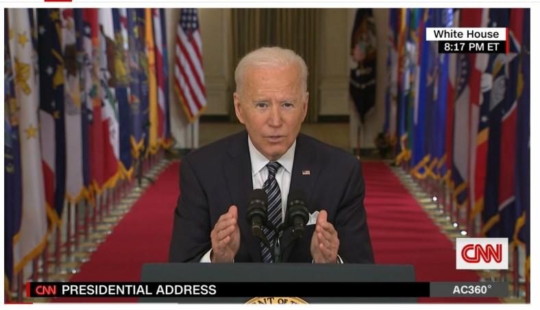 President Joe Biden addressing the nation March 11, 2021