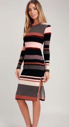 Lulu's Share the Love Mauve Multi Striped Ribbed Long Sleeve Midi Dress