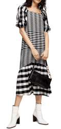 TOP SHOP Contrast Check Midi Dress