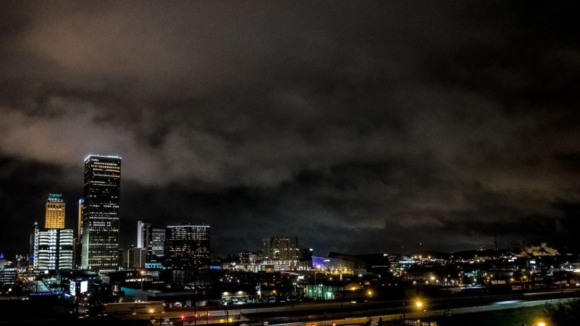 Downtown Tulsa, looking over the arts district, on a rainy night in April. /JOSEPH RUSHMORE for LOS