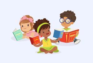 Cartoon Kids Reading
