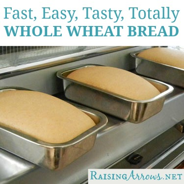 All Whole Wheat Bread start to finish only 1 hour (and oh so yummy!) | RaisingArrows.net