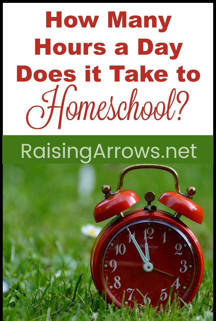 How many hours a day does it take to homeschool your child? Not as long as you think! Extensive list of subjects and ages to help you plan your homeschool day!