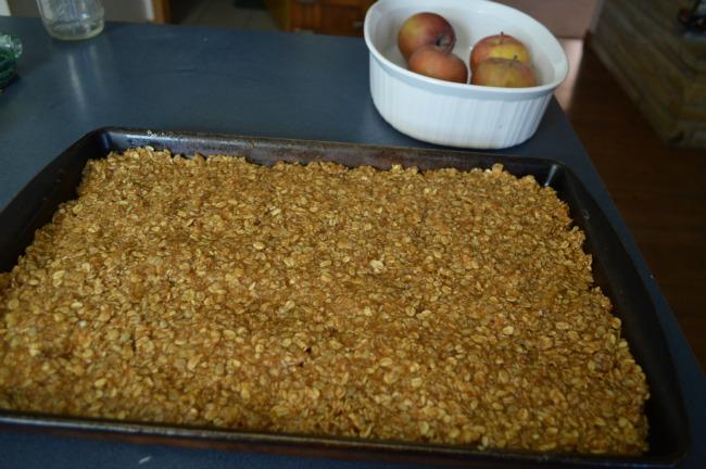 granola bars in pan