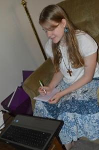 Meg learning French via Skype | RaisingArrows.net