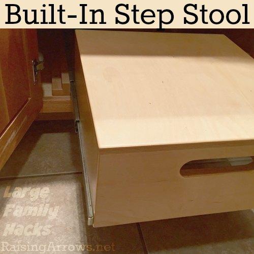 Built-In Step Stool {Large Family Hacks}   RaisingArrows.net