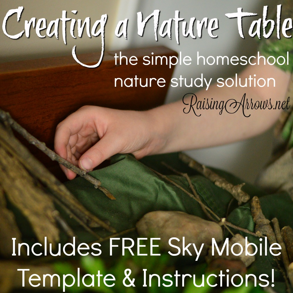 Don't get bogged down by nature journaling! You can still study and enjoy nature by bringing it inside with a Nature Table! Plus, get your free template for a Sky Mobile to hang over your table!