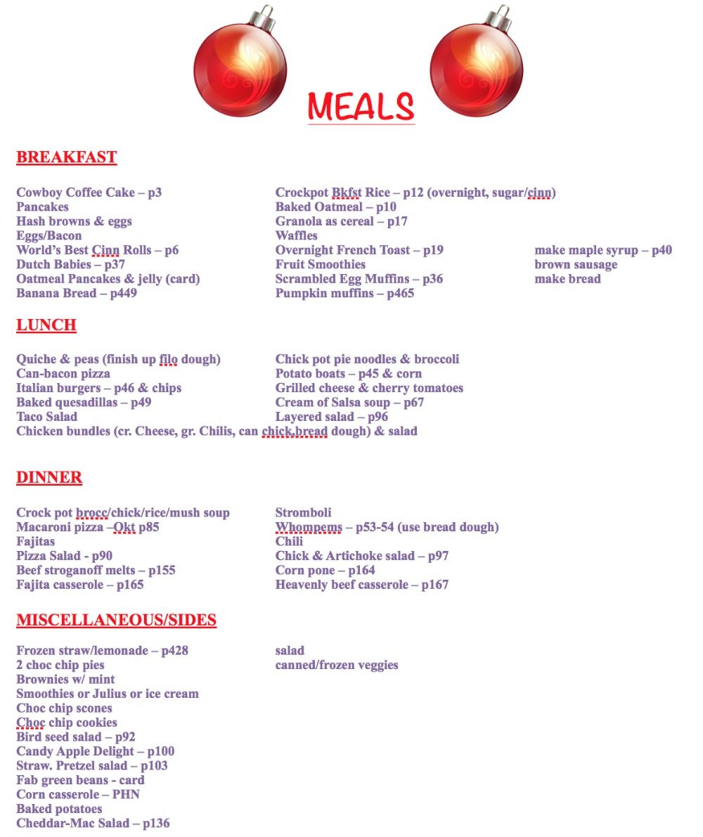 30 Day Master Meal List Example
