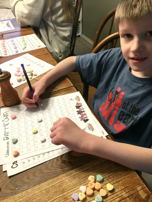 Valentine's Day Battleship in this week's Large Family Homeschooling Review
