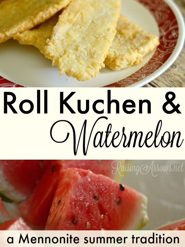 The recipe for one of my favorite German Mennonite summer traditions of salty fried bread known as roll kuchen served up with a thick slice of watermelon.