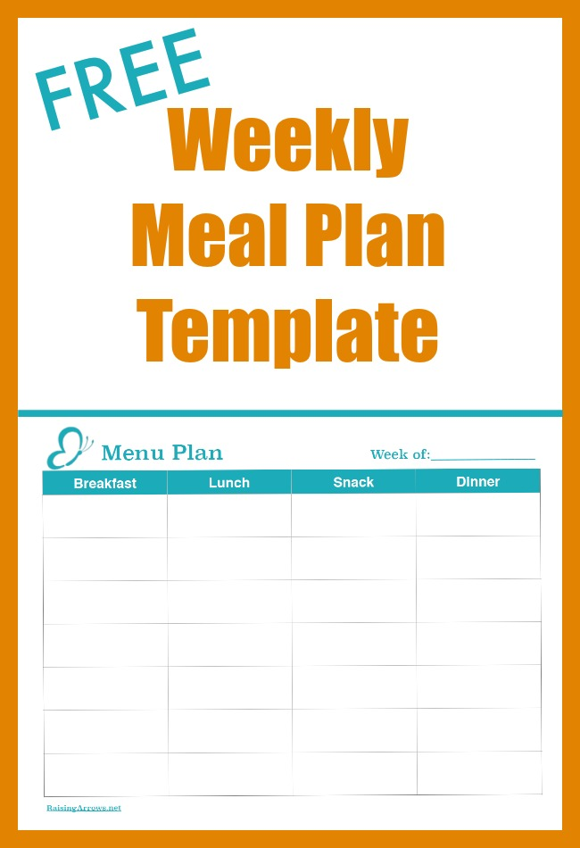 Plan a week's worth of meals and snacks with this free menu planning template!