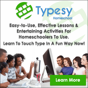 Are you looking for an inexpensive, large family friendly homeschool typing program that doesn't require you to do anything but set it up online?  Typesy Homeschool is exactly what you are looking for!