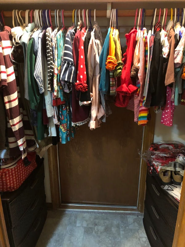 Large families put several children's clothing items in one closet.  Dressers can go in there as well.