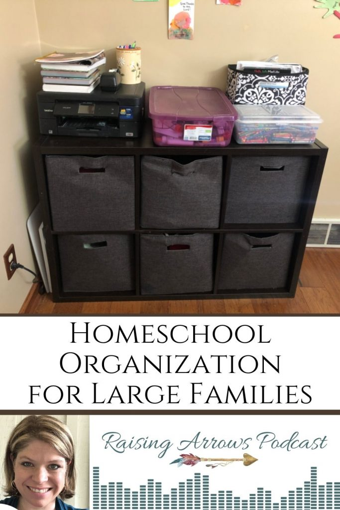 In this, Part 2 of Homeschooling Multiple Ages podcast series, we explore simple and effective organization methods for the supplies, books, and curriculum needed to homeschool a larger family.