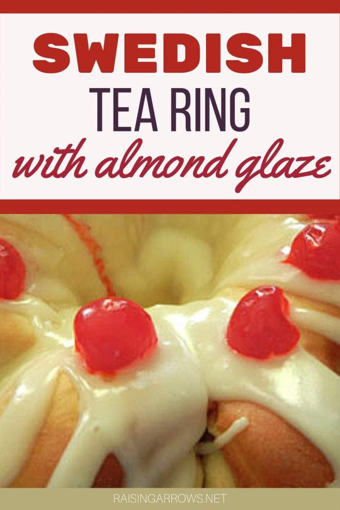 Swedish Tea Rings are a delightful holiday confection filled with a raisin filling and topped with an almond glaze, nuts, and cherries.