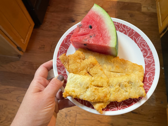 My favorite part of summer is Rollkuchen - a German Mennonite fry bread - paired with watermelon for supper!