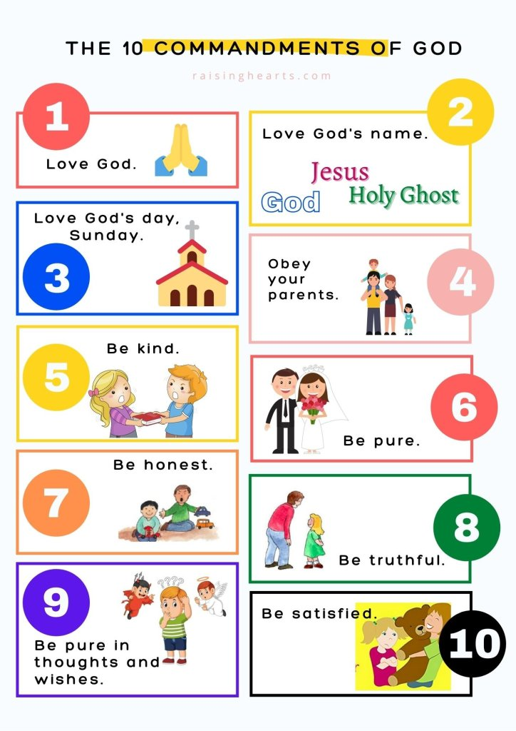 10 commandments of GOD printable for kids
