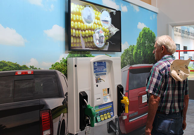 Learn about renewable fuels in the garage by pressing the fuel selector buttons.