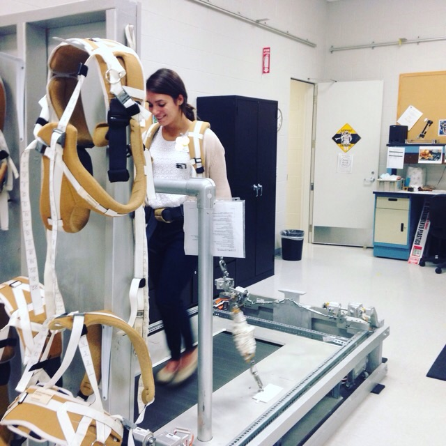 Combining her love for running with her love for science, NASA intern, Melanie Gibson, tries out the ISS treadmill at NASA's Johnson Space Center.