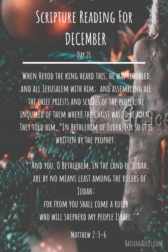 Scripture Reading For DECEMBER 21