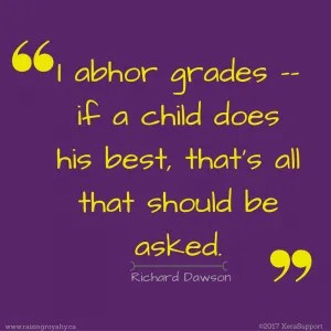 """One of the most frequently asked questions about homeschooling is about grading. Richard Dawson said, """"I abhor grades -- if a child does his best, that's all that should be asked."""""""
