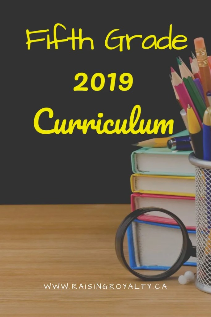 Here's what we're using for fifth grade curriculum in 2019. Get an idea of what a typical large homeschooling family is using this year!
