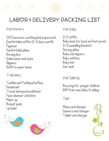Labor and Delivery Packing List