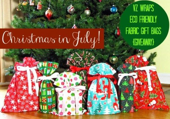Christmas in July VZ Wraps Eco Friendly Fabric Gift Bags Giveaway