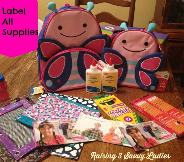 Label all supplies for back to school