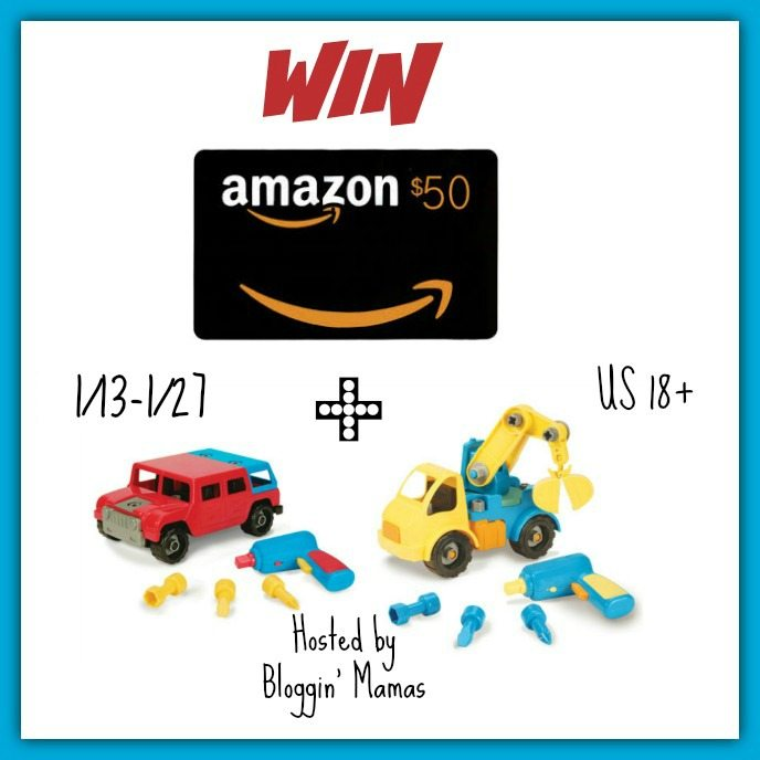 Win $50 Amazon Giftcard and pair of toy trucks!