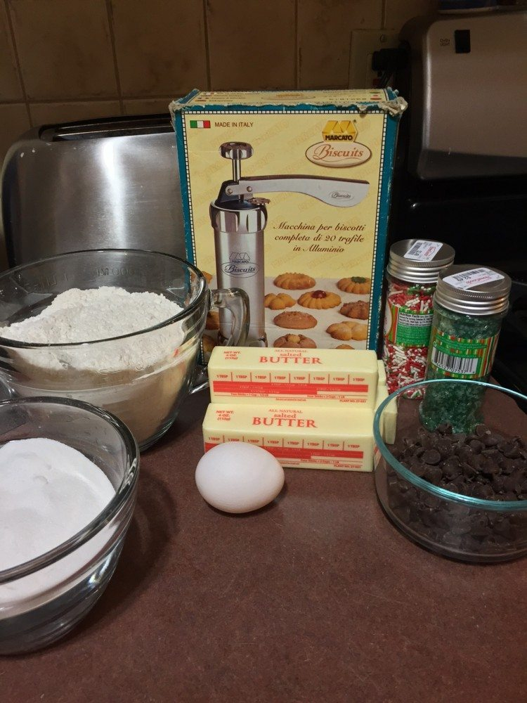 butter cookie ingredients on table