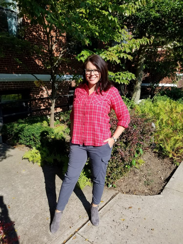 Outfit with fall fashion finds of red checked shirt and gray pants