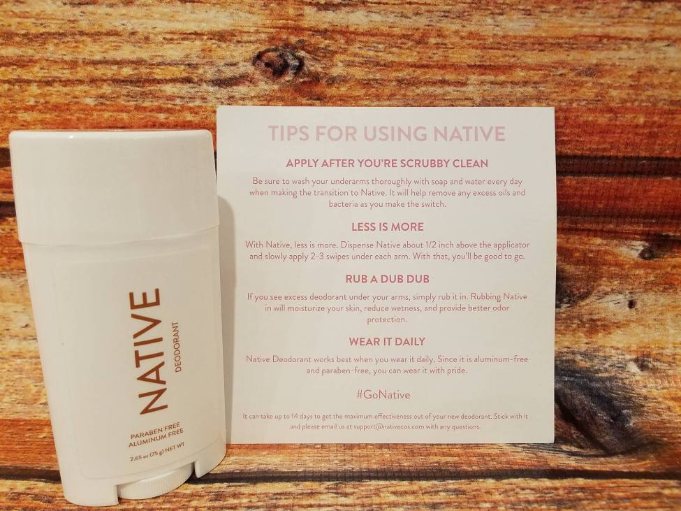 Native Deodorant usage tips card on wood table