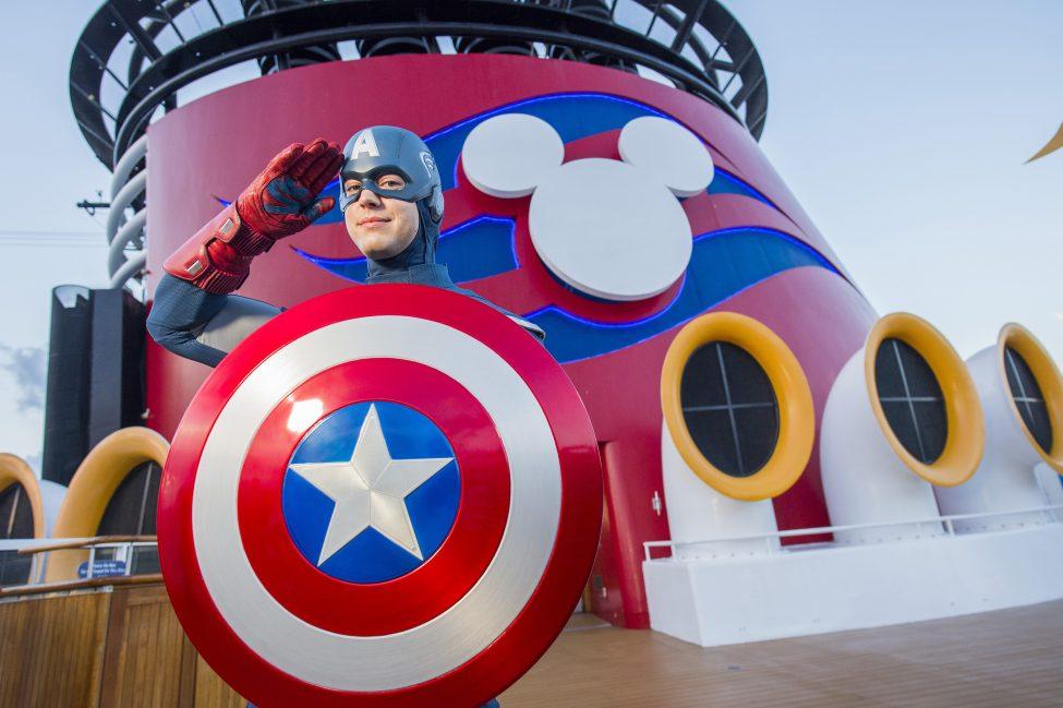 Captain America on ship deck