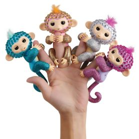 Hand with Fingerlings on four fingers.
