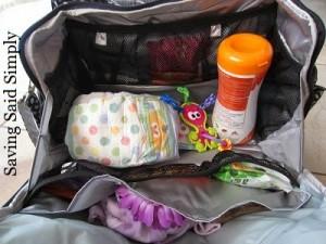Ju-Ju-Be Be Prepared Diaper Bag top view filled with baby items