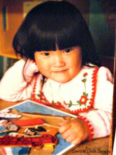 Korean toddler smiling for photo