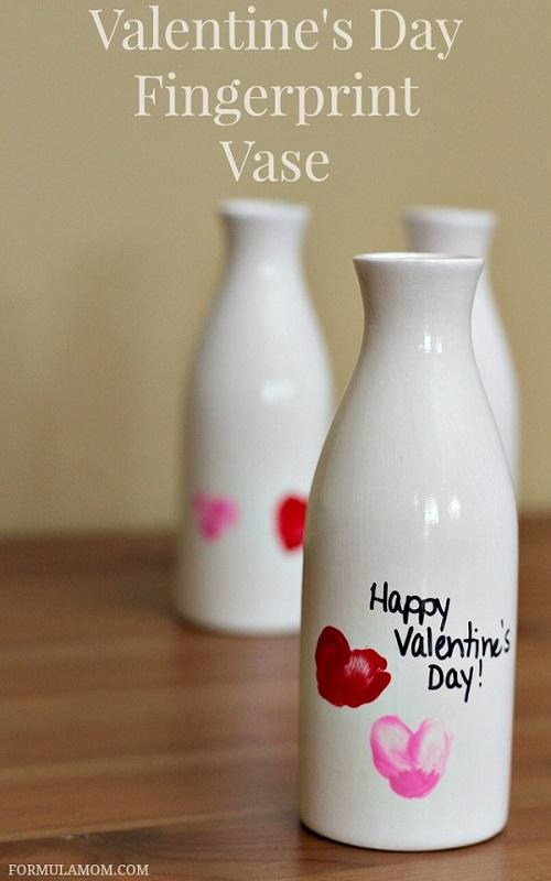 Valentine fingerprint bud vase