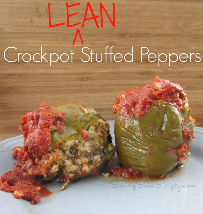 Easy crockpot lean stuffed peppers
