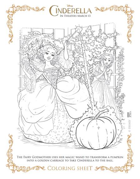 Free Cinderella printable coloring sheets
