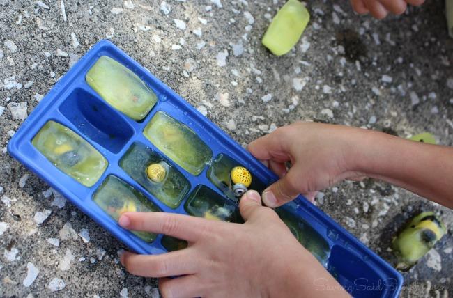 Kids ice sensory play