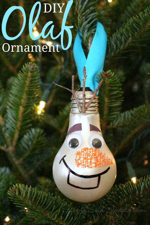 Olaf lightbulb ornament