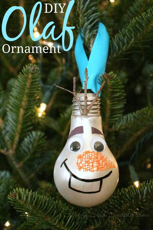 Olaf lightbulb ornament