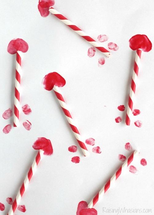 Cupids arrows thumbprint craft